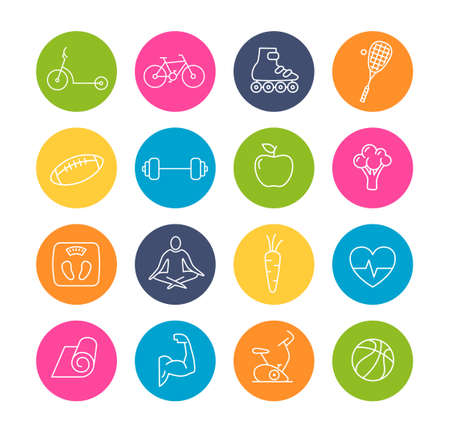 Collection of healthy lifestyle icons - can be used to illustrate healthy eating, sports, yoga, mediation.