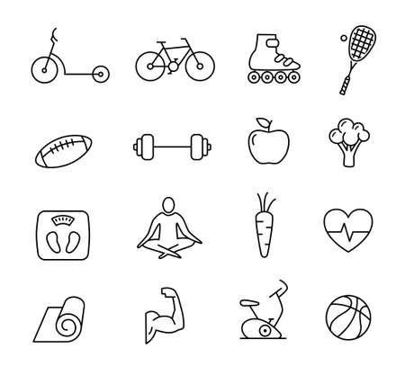 ejercicio aeróbico: Colección de iconos de estilo de vida saludables - se puede utilizar para ilustrar la alimentación saludable, el deporte, el yoga, la mediación. Vectores
