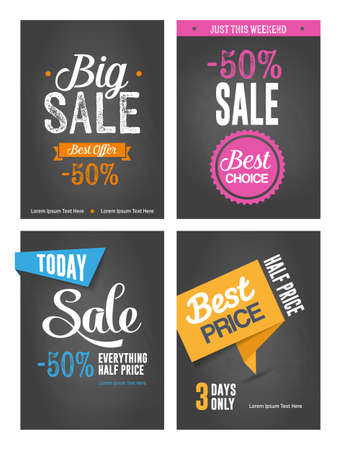 Collection of typographic posters - sales promotion, discounts.