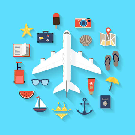 leisure time: Flat design background with icons representing summer, plane travelling, relaxation on the beach, leisure time.