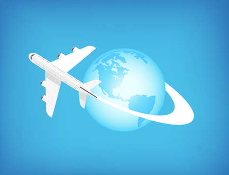 jet plane: Airplane flying around the world - can be used to ilustrate traveling, adventure, holidays.