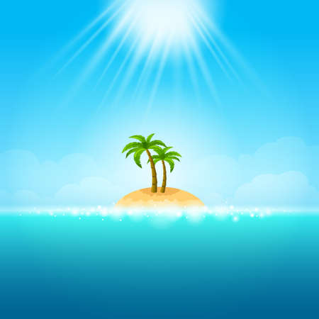wave tourist: Tropical island in the blue sea - can be used to illustrate summer vacation, relaxation on the beach, traveling