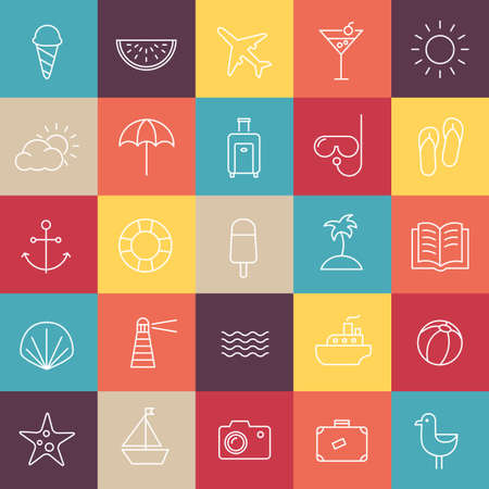 thin ice: Collection of icons representing summer, travel, sea, beaches and relax. Modern, thin lines style.
