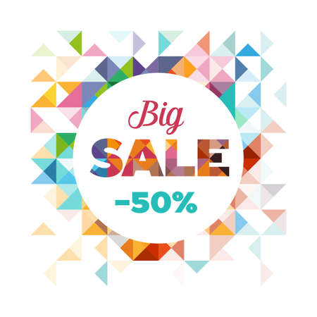 Sales poster - modern design made of geometrical shapes. Can be used to advertise sales events and discounts. Illustration