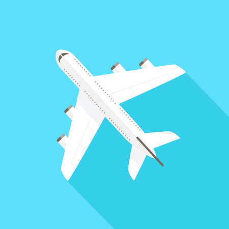 Flying airplane - flat design style. Can be used to illustrate topics like tourism, travel, transportation, holidays. Illustration