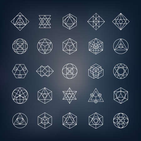 Geometrical shapes. Can be used as sacred geometry sybols or alchemy and spirituality elements. Ilustracja