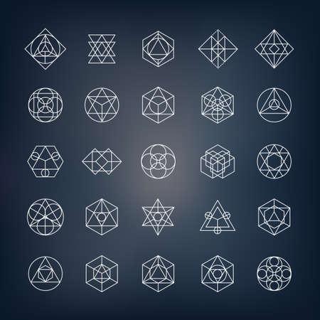 Geometrische Formen. Kann als heilige Geometrie sybols oder Alchemie und Spiritualität Elemente verwendet werden. Vektorgrafik