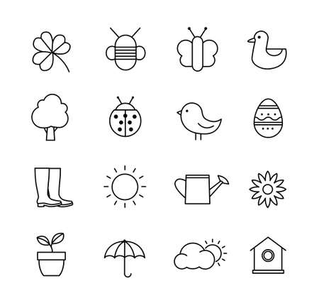 Collection of icons representing spring, nature and gardening. Thin lines design style.