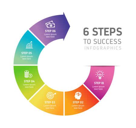 六つのステップのインフォ グラフィック - は、戦略、ワークフロー、チームの仕事、成功への道を説明することが。  イラスト・ベクター素材