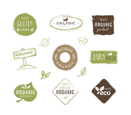 Collection of organic food labels, stickers and design elements. Can be used on product packaging, restaurant menus,  signs or any other graphic materials.
