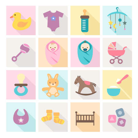 horse care: Collection of baby icons - kids, toys, accessories. Modern, flat design style.