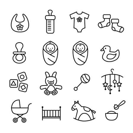 Collection of baby icons - kids, toys, accessories. Modern, thin lines design style.