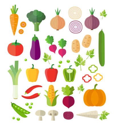 Collection of vegetables - healthy eating, healthy lifestyle. Modern flat design style. Can be used for web or printed graphics, infographics.