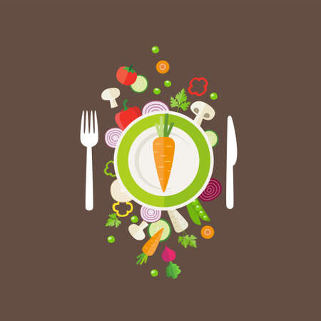 healthy meals: Vegetables background - can illustrate topics like healthy eating, vegetarian meals, vegan or raw diet. Illustration