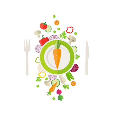 meals: Vegetables background - can illustrate topics like healthy eating, vegetarian meals, vegan or raw diet. Illustration