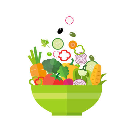 salad bowl: Salad bowl - healthy food, organic vegetables. Can be used for any printed or web graphic, for infographics to illustrate healthy lifestyle or vegan, vegetarian, raw diet.