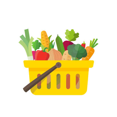 Shopping basket full of vegetables - can illustrate healthy lifestyle, vegan or vegetarian diet, raw fod, healthy cooking. Also farming, fresh food and organic agriculture.