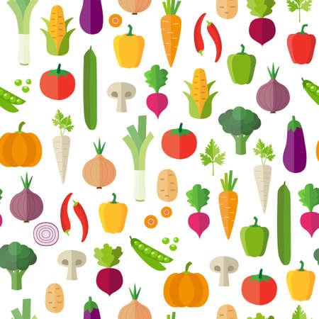 Légumes fond - seamless pattern. Peut illustrer des sujets tels que l'alimentation saine, repas végétariens, végétaliens ou alimentation crue. Fond d'écran décoration. Vecteurs