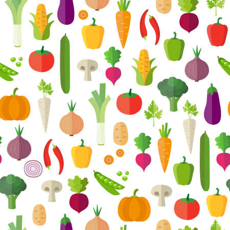 Warzywa tle - bez szwu. Można zilustrować zagadnienia jak zdrowe odżywianie, posiłki wegetariańskie, wegańskie lub surowej diety. Tapeta dekoracji. Ilustracje wektorowe