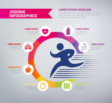Jogging infographics with icons - benefits of jogging in a diagram. Health improvements, muscle strength, mental health, weight loss. Illustration
