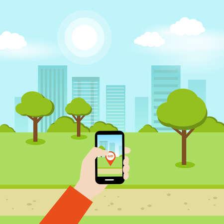 スマート フォンを使用して公園で地理位置情報オンライン ゲームをプレイする人。  イラスト・ベクター素材