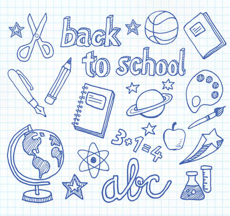 Back to school - doodles and sketches related to school, education, students.