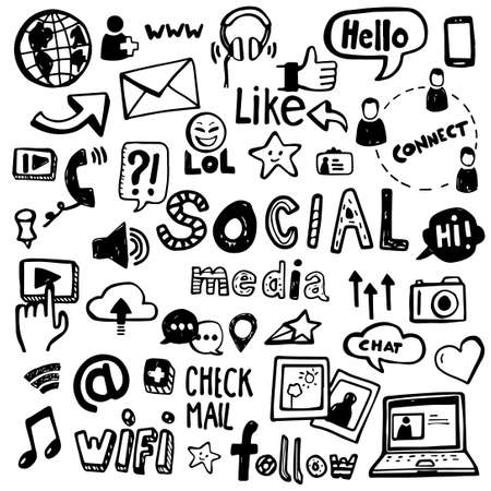 Set of vector doodles - can be used to illustrate social media, connectivity, online activities, technology. Illustration