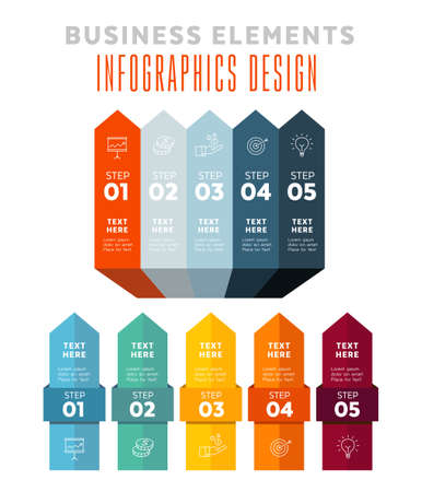 Five steps infographics - can illustrate a strategy, workflow or team work.