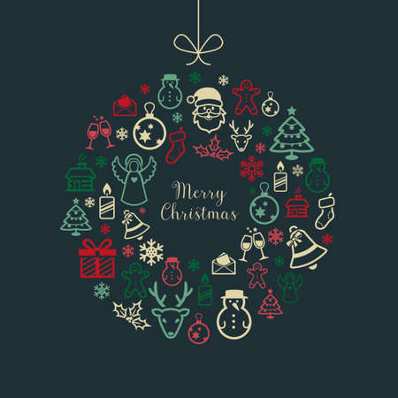 Christmas Greetings Card With Icons Illustration