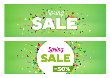 Spring sales banners - modern design made of geometrical shapes. Can be used to advertise sales events and seasonal discounts. Illustration