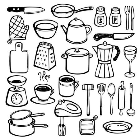 Collection of hand drawn kitchen utensils - cutlery, pots, pans, cups. Can be used for print or web.