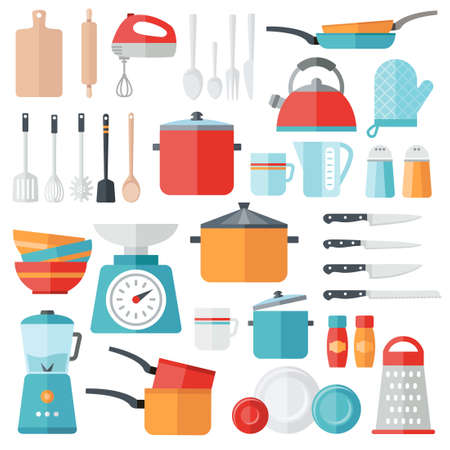 Collection of vector icons symbolizing kitchen equipment, food, cooking. Modern flat design style. Both for print and web design. Illustration