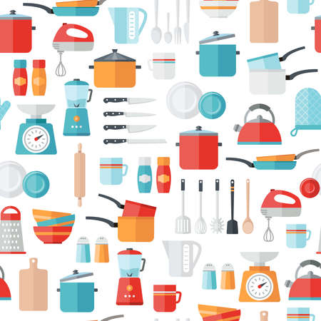 food preparation: Kitchen icons seamless pattern. Can be used to illustrate any topic about cooking, food, meal preparation. Illustration