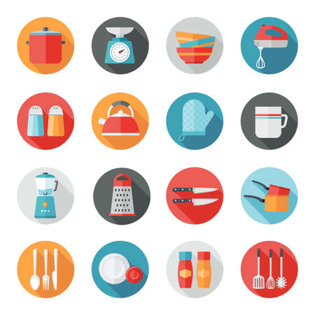 Collection of kitchen utensils icons in flat design style. Illustration