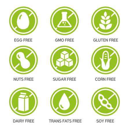 Set of food labels - allergens, GMO free products. Ilustracja