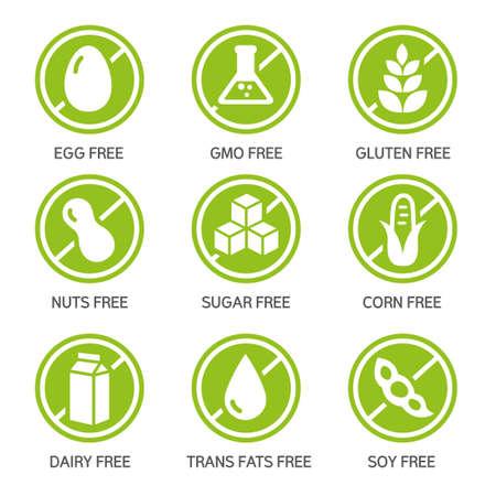 Set van etiketten - allergenen, GGO-vrije producten.