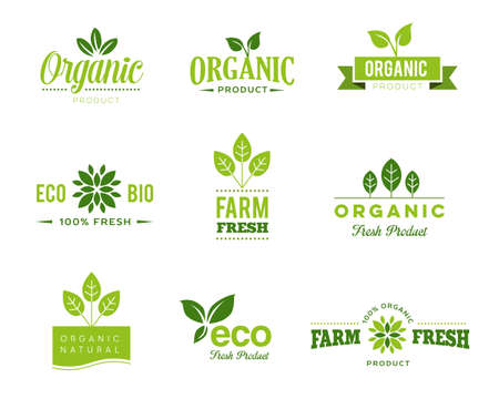 Collection of icons of organic, natural products and ecology topics.