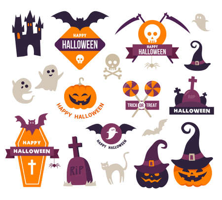 Collection of Happy Halloween Icons - Badges