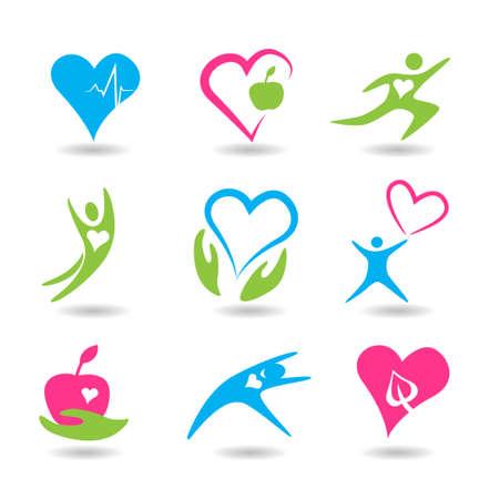 Nine icons symbolizing healthy hearts. Illustration