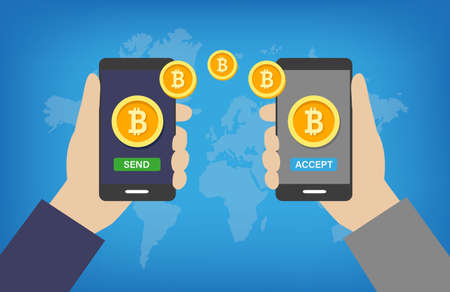 Bitcoin Transaction - paying and receiving cryptocurrency operation via mobile phones