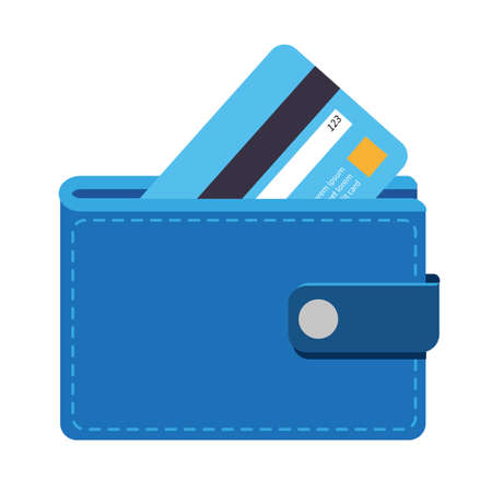 Wallet icon with a credit card, can be used to describe any topic related to banking, finance, shopping, saving money etc.