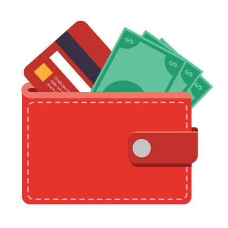 Wallet icon with money bills and a credit card, can be used to describe any topic related to banking, finance, shopping, saving money etc.