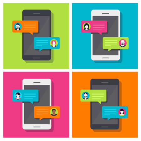 Concept of a mobile chat or conversation of people via mobile phones. Can be used to illustrate globalization, connection, phone calls or social media topics. Stock Illustratie