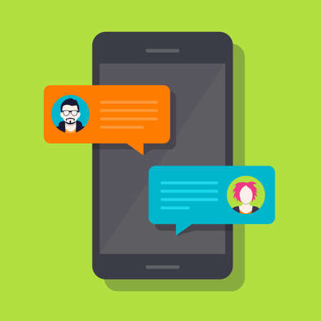 Concept of a mobile chat or conversation of people via mobile phones. Can be used to illustrate globalization, connection, phone calls or social media topics. Çizim