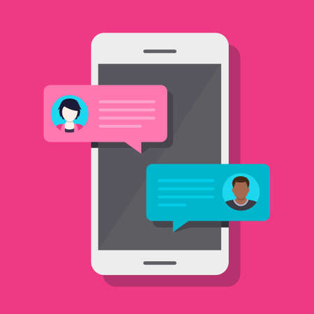 Concept of a mobile chat or conversation of people via mobile phones. Can be used to illustrate globalization, connection, phone calls or social media topics. Illustration