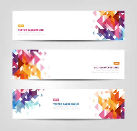 Abstract banners - website headers with geometricaly shaped pattern