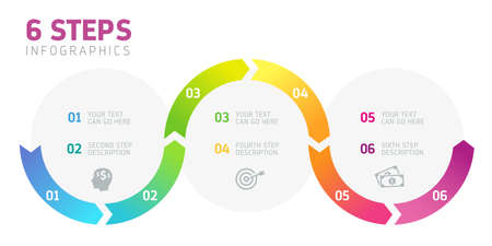 Six steps infographics - can illustrate a strategy, workflow or team work. Illustration