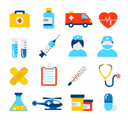 Medical icons collection in modern, flat design style. Can be used to illustrate any medical and healthcare topic. Illustration