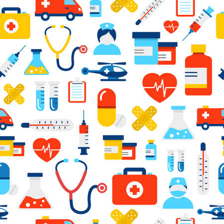Medical icons seamless pattern, modern flat design style