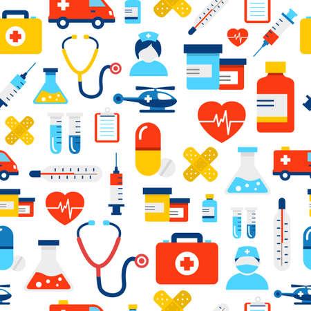 Medical icons seamless pattern, modern flat design style